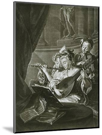 Flute, violin and chitarrone (George Frederick Handel as a young musician in Hamburg)-Unknown-Mounted Giclee Print