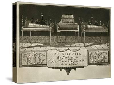 Glass harmonicas and keyboard chimes; engraving from the first half of the nineteenth century-Unknown-Stretched Canvas Print