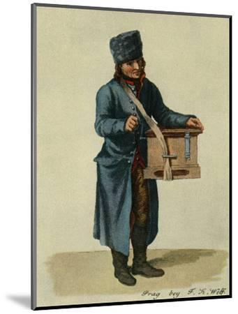 'Hooked harp and barrel-organ. Types of Prague musicians', 1948-Unknown-Mounted Giclee Print