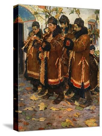 'Musicians from Hroznovà Lhota: clarinet, violin and double bass. (1861-1940)', 1948-Joza Uprka-Stretched Canvas Print