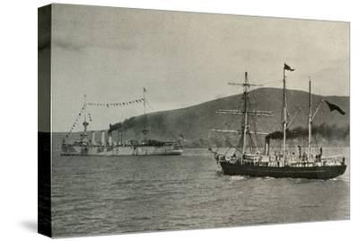 'The Nimrod Passing H.M.S. Powerful,...in Lyttelton Harbour', 1 January 1908, (1909)-Unknown-Stretched Canvas Print