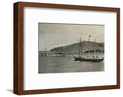 'The Nimrod Passing H.M.S. Powerful,...in Lyttelton Harbour', 1 January 1908, (1909)-Unknown-Framed Photographic Print