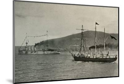'The Nimrod Passing H.M.S. Powerful,...in Lyttelton Harbour', 1 January 1908, (1909)-Unknown-Mounted Photographic Print