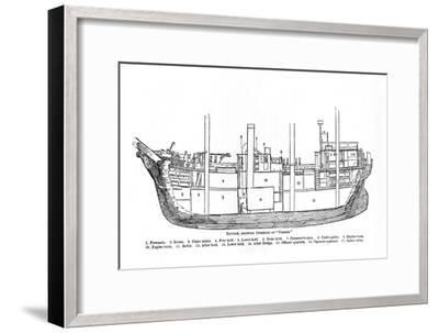 'Section, Showing Interior of Nimrod.', 1909-Unknown-Framed Giclee Print
