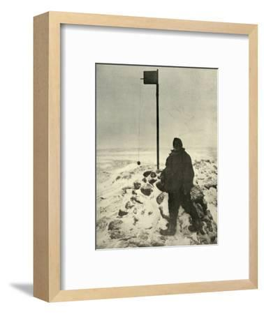 'Professor David Standing By Mawson's Anemometer', c1908, (1909)-Unknown-Framed Photographic Print