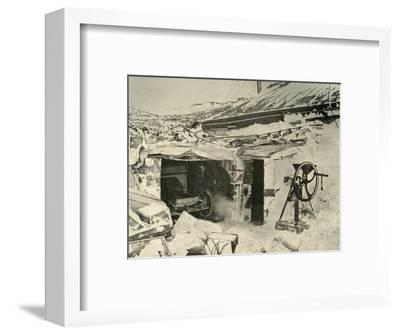 'The Motor Car in the Garage, and Maize-Crusher on the right', c1908, (1909)-Unknown-Framed Photographic Print