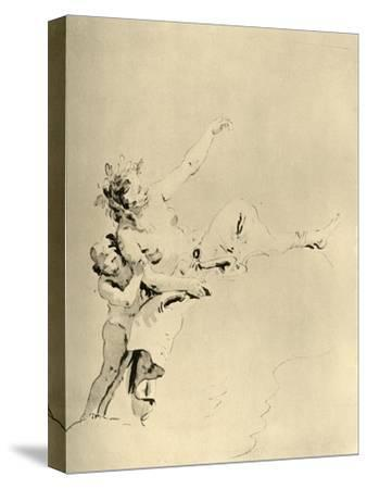 'Woman resting on Clouds and supported by a Cupid', mid 18th century, (1928)-Giovanni Battista Tiepolo-Stretched Canvas Print