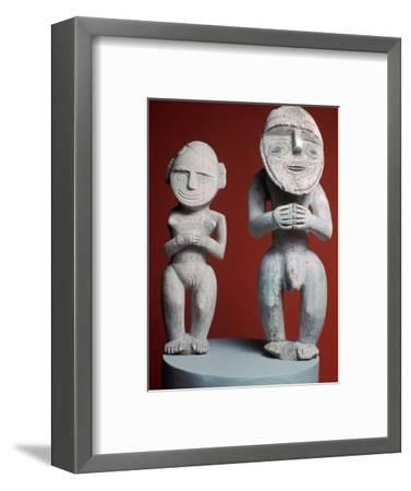 Melanesian male and female ancestor figures-Unknown-Framed Giclee Print