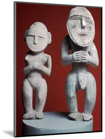 Melanesian male and female ancestor figures-Unknown-Mounted Giclee Print