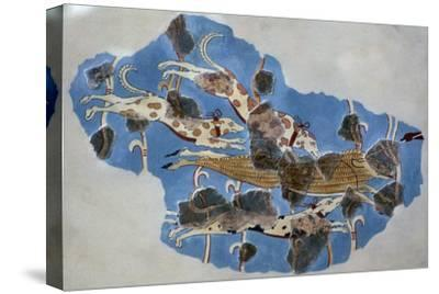 Detail of a Mycenaean fresco showing a wild boar hunt-Unknown-Stretched Canvas Print