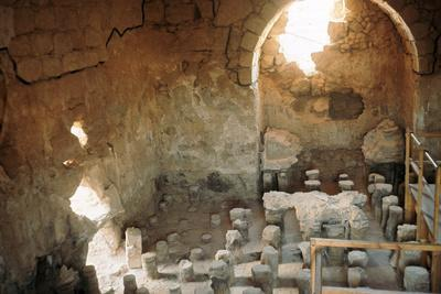 Interior of a Roman bath-house showing the hypocaust-Unknown-Framed Photographic Print