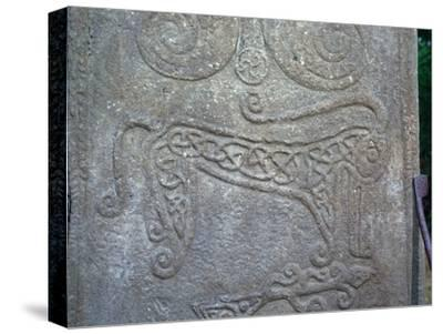 Detail of a Pictish carved stone showing the 'Pictish Beast' symbol, 6th century-Unknown-Stretched Canvas Print