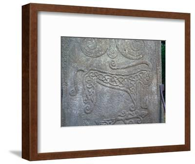 Detail of a Pictish carved stone showing the 'Pictish Beast' symbol, 6th century-Unknown-Framed Giclee Print