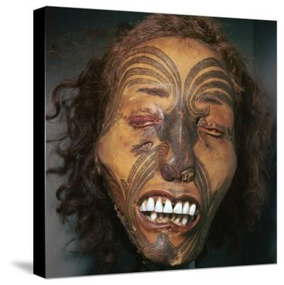 Mummified head of a Maori Chief-Unknown-Stretched Canvas Print