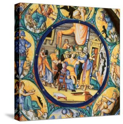 Italian earthenware plate showing the birth of Hercules-Unknown-Stretched Canvas Print