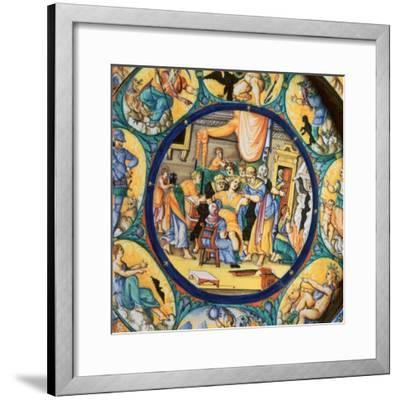 Italian earthenware plate showing the birth of Hercules-Unknown-Framed Giclee Print