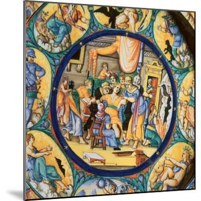 Italian earthenware plate showing the birth of Hercules-Unknown-Mounted Giclee Print