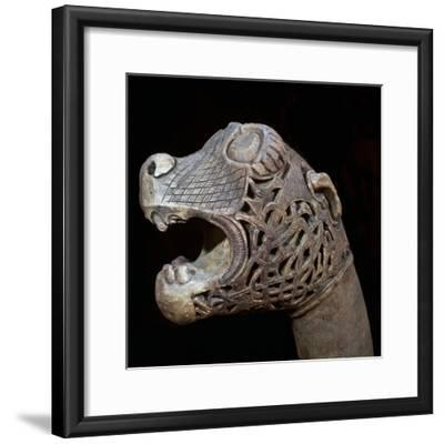 The Academician's' animal head-post from the Oseburg Viking ship burial, 9th century-Unknown-Framed Giclee Print