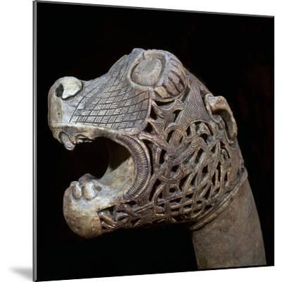 The Academician's' animal head-post from the Oseburg Viking ship burial, 9th century-Unknown-Mounted Giclee Print