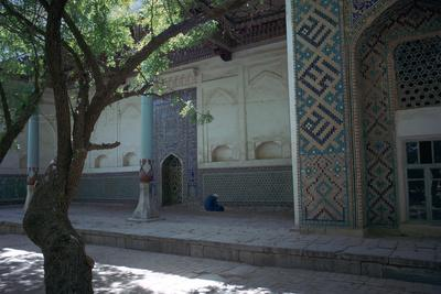 Muslim at prayer in a mosque in Samarkand-Unknown-Framed Photographic Print