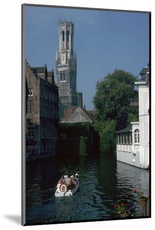 Canal, old houses, and the Belfrey of the Tour Des Halles in Bruges-Unknown-Mounted Photographic Print