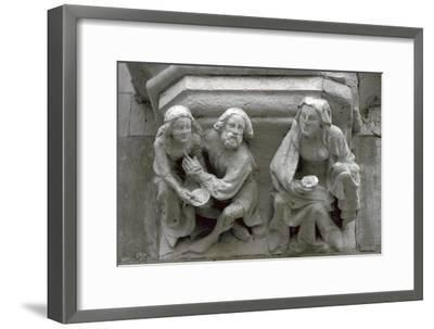 Stone carving on the side of a house in Bruges-Unknown-Framed Giclee Print