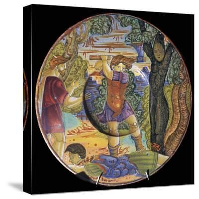 Italian earthenware plate, Erysichthon felling a tree in grove of Ceres, 16th century-Unknown-Stretched Canvas Print