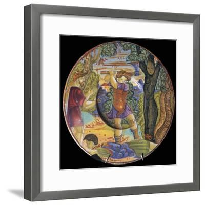 Italian earthenware plate, Erysichthon felling a tree in grove of Ceres, 16th century-Unknown-Framed Giclee Print