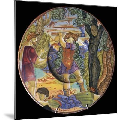 Italian earthenware plate, Erysichthon felling a tree in grove of Ceres, 16th century-Unknown-Mounted Giclee Print