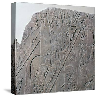 Babylonian depiction of the siege of an Egyptian city, 7th century-Unknown-Stretched Canvas Print