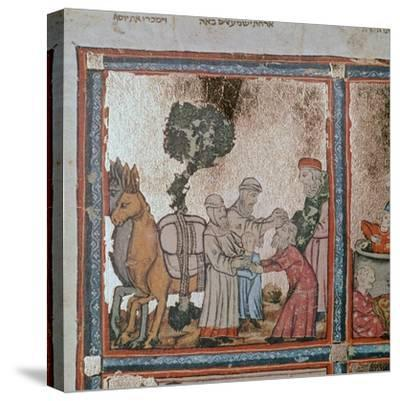 Illustration of Joseph being sold by his brothers, 14th century-Unknown-Stretched Canvas Print
