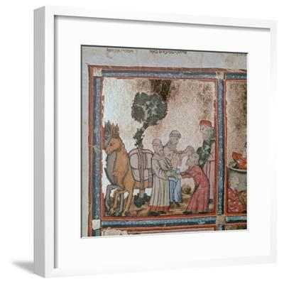 Illustration of Joseph being sold by his brothers, 14th century-Unknown-Framed Giclee Print