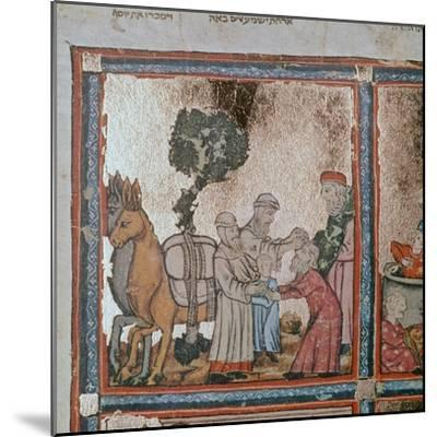 Illustration of Joseph being sold by his brothers, 14th century-Unknown-Mounted Giclee Print