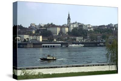 View across the river Sava to the Old Town in Belgrade, 19th century-Unknown-Stretched Canvas Print