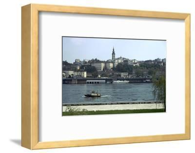 View across the river Sava to the Old Town in Belgrade, 19th century-Unknown-Framed Photographic Print
