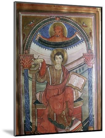 Illustration of St Mark holding his gospel, 8th century-Unknown-Mounted Giclee Print