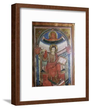 Illustration of St Mark holding his gospel, 8th century-Unknown-Framed Giclee Print