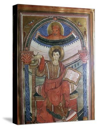 Illustration of St Mark holding his gospel, 8th century-Unknown-Stretched Canvas Print