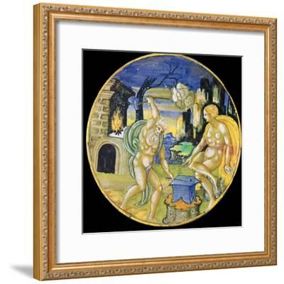 Italian earthenware plate showing Vulcan forging arrows for Cupid, c.16th century-Unknown-Framed Giclee Print