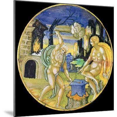Italian earthenware plate showing Vulcan forging arrows for Cupid, c.16th century-Unknown-Mounted Giclee Print