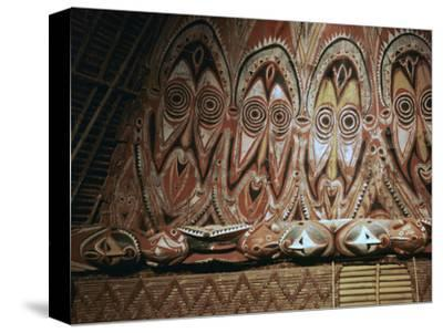 Painted gable-wall of a cult-house from New Guinea-Unknown-Stretched Canvas Print