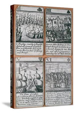 English playing cards commemorating defeat of the Spanish Armada (8 August 1588)-Unknown-Stretched Canvas Print