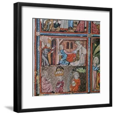 Joseph and Potiphar's wife andJoseph in prison interpreting dreams, 14th century-Unknown-Framed Giclee Print