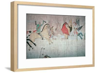 Blackfoot Native American tepee lining showing an attack on a camp-Unknown-Framed Giclee Print