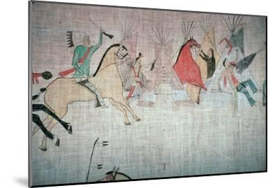Blackfoot Native American tepee lining showing an attack on a camp-Unknown-Mounted Giclee Print