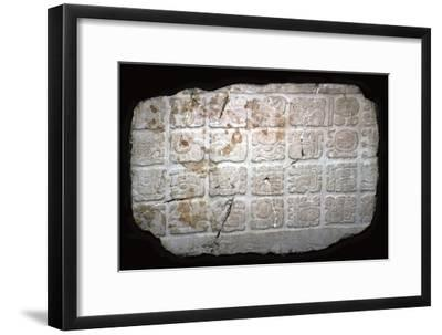 Mayan hieroglyphs on part of a door lintel, 7th century-Unknown-Framed Giclee Print