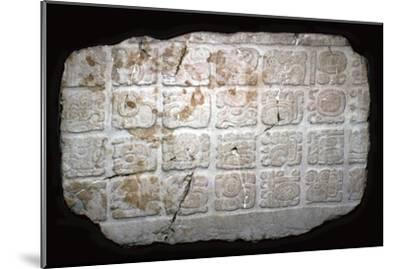 Mayan hieroglyphs on part of a door lintel, 7th century-Unknown-Mounted Giclee Print