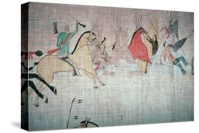 Blackfoot Native American tepee lining showing an attack on a camp-Unknown-Stretched Canvas Print