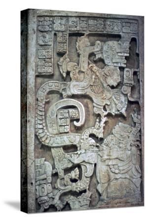Mayan stone lintel showing a serpent god and priest-Unknown-Stretched Canvas Print