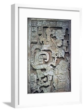 Mayan stone lintel showing a serpent god and priest-Unknown-Framed Giclee Print